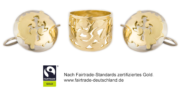 ORONDA Fairtrade Gold Ring Ohrringe